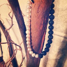 Lava rock and pearl necklace