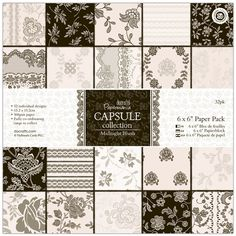 Papermania 6 x 6-inch Capsule Paper, Pack of 32, Midnight Blush