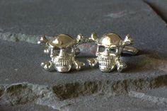 Skull and Crossbones Sterling Silver Cufflinks, Harmful Substance Cufflinks, Skull and Bones Jewelry, Pirates Jewelry, Pirate Cufflinks by SilverSculptor on Etsy