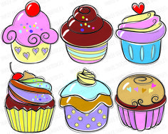 Cupcake Doodles Clip Art - candy cherry sweet chocolate cream cupcakes hand drawn food doodles for Teacher, Personal, COMMERCIAL USE 30003