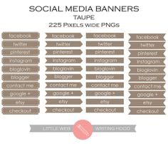 Social Media Icons Banners Tabs Flags  by LittleWebWritingHood, $5.00