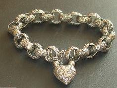Antique Vintage Victorian Sterling Silver Padlock Charm Bracelet Book Chain Huge | eBay