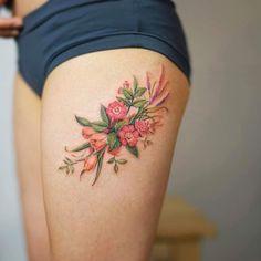 46 Gorgeous Flower Tattoos to Brighten Your Body (BodyArt!) – Page 18 of 40 46 Gorgeous Flower Tattoos to Brighten. Gorgeous Tattoos, Unique Tattoos, Cute Tattoos, Hand Tattoos, Small Tattoos, Thigh Piece Tattoos, Flower Thigh Tattoos, Pieces Tattoo, New Tattoo Designs