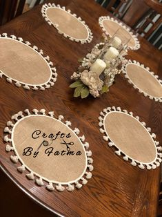 Towel Crafts, Burlap Crafts, Diy Home Crafts, Yarn Crafts, Sewing Crafts, Farmhouse Placemats, Farmhouse Table Runners, J Craft, Craft Sale