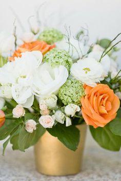 The flowers! Pretty flower arrangement Fresh Flower Arrangement by FLORAL NEW YORK, via. Orange Flowers, Fresh Flowers, White Flowers, Beautiful Flowers, Fall Flowers, Flower Centerpieces, Wedding Centerpieces, Wedding Decorations, Arte Floral