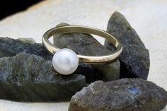 Anello perla anello d'oro anello dello stack di AnemoneCharm