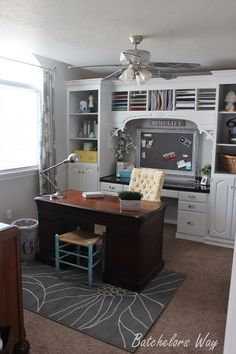 Home Office with Built-In Book Shelves on a 500 bucks Budget at Batchelors Way - Home Office Decoration Home Office Organization, Home Office Decor, Office Ideas, Home Decor, Organization Ideas, Office Furniture, Storage Ideas, Office Setup, Office Storage