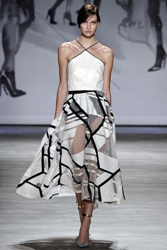 Lela Rose | Spring 2015 Ready-to-Wear | 22 White halter cropped top and monochrome printed sheer midi skirt
