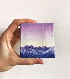 Painting of a Mountain at Sunrise; Small, Affordable Art - All About Small Canvas Paintings, Small Canvas Art, Mini Canvas Art, Small Paintings, Small Art, Painting Inspiration, Art Inspo, Sunrise Painting, Landscape Artwork