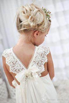 Romantic 2016 New Arrival Boho Flower Girl Dresses For Weddings Cheap V Neck Chiffon Lace Tiered Formal Wedding Dress Custom Made EN52616