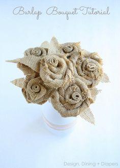 Awesome DIY Rosette and Burlap Bouquet Tutorial by Design, Dining + Diapers. Burlap Bouquet, Burlap Lace, Burlap Flowers, Diy Flowers, Fabric Flowers, Paper Flowers, Burlap Rosettes, Hessian, Burlap Projects