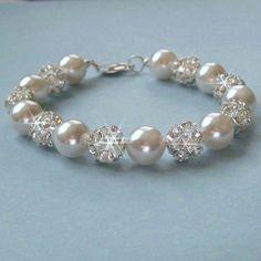 Pulsera novia perlas grueso brazalete de perla y por JaniceMarie