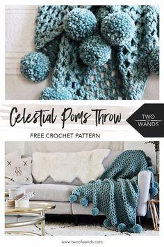 Celestial Poms Throw - Free Crochet Pattern by Two of Wands Modern Crochet Blanket, Crochet Throw Pattern, Crochet Motifs, Baby Blanket Crochet, Crochet Patterns, Crochet Blankets, Crochet Afghans, Crochet Mandala, Diy Blankets