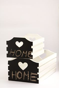 OCT: Wooden box hand painted crate white