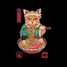 Shop Japanese Maneki Neko Lucky Charm Ramen Cat Ramen Men's T-Shirt by Vincent Trinidad. Maneki Neko, Art Pop, Et Wallpaper, Framed Art Prints, Canvas Prints, Japanese Art Modern, Japon Illustration, Doja Cat, Kitty Cats
