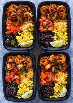 Healthy Shrimp Taco Meal Prep Bowls