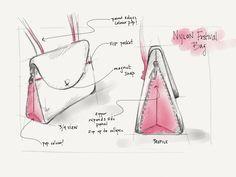 New Bag Sketches — Dana Ramler Fashion Handbags, Fashion Bags, Leather Backpack Pattern, Handbag Tutorial, Drawing Bag, Creative Bag, Bag Illustration, Side Bags, New Bag
