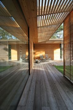 YES - wood: warm and cool, big windows, lattice work, tight-fitting wood, over hangs