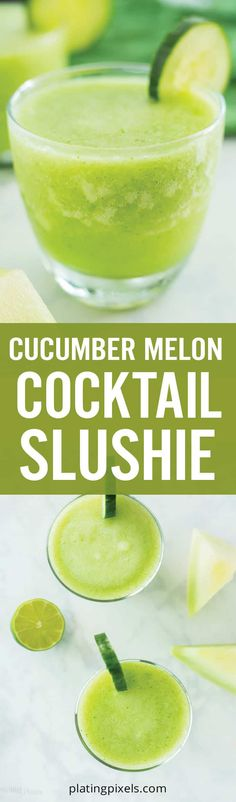 This summer themed Cucumber Melon Cocktail Slushie is an easy to make frozen cocktail recipe. Made with frozen honeydew melon, lime, honey, cucumber and vodka. This vodka slushee is gluten free, vegan and low carb. Msg 4 21+ #ad #CelebratorySips #AbsolutAmerica #cocktailrecipe #cocktailslushie #slushie #honeydew - platingpixels.com