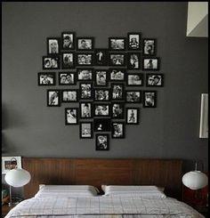 photos au mur forme-coeur-lit