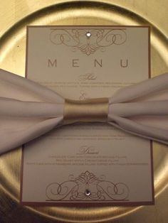 white and gold table setting, crytal studded printed menu, white and gold bow, gold charger
