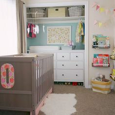 """This shared baby and toddler room was short on space, so Mom put the dresser/changing table in the closet and took off the doors to open up the space. We…"""