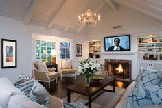 I really could do this in my living room! Cottage Living Rooms, My Living Room, Home And Living, Living Room Furniture, Home Furniture, Living Spaces, Decoration Bedroom, Decoration Design, Fireplace Built Ins