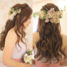 ダウンスタイルにするブライダルヘアの巻き方バリエーション | marry[マリー] Bridesmaid Dresses, Wedding Dresses, Best Day Ever, Bride Hairstyles, Bridal Hair, Dream Wedding, Long Hair Styles, Beautiful, Beauty
