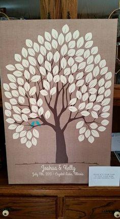 Burlap Wedding Tree Canvas | Guest Book Alternative | Rustic Wedding | Customer Photo | Wedding Colors - Blue | peachwik.com