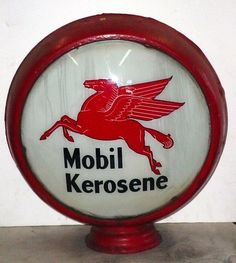 RARE Antique Mobil Kerosene Pegasus Gas Station Gas Globe Sign N R | eBay