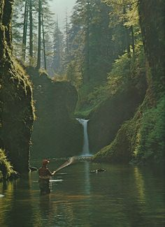 themcgovernresidence: Fly fishing on Eagle Creek, Oregon Ray...