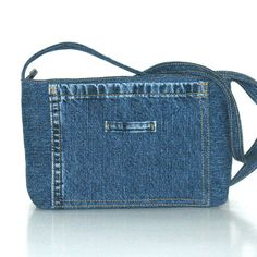 Recycled crossbody bag , small blue jean side bag , vegan denim cross over purse. Denim Jean Purses, Blue Jean Purses, Denim Purse, Small Messenger Bag, Small Crossbody Bag, Diy Pouch Bag, Old Jeans Recycle, Denim Shoulder Bags, Side Bags