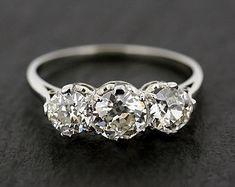 Antique Engagement Ring - Three Stone Diamond & Platinum Edwardian Antique Engagement Ring