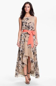 Print High/Low Chiffon Maxi Dress