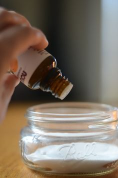 DIY room air freshener. Baking soda + 8 drops of an essential oil of your choice. So easy!