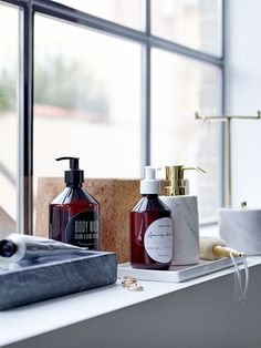 Delicate bathroom essentials for a spa experience