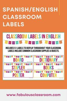 Help kids learn Spanish with these bilingual classroom labels! Spanish classroom vocabulary is easy when always in view! Includes editable cards! #learnspanish #classroomdecor #classroomorganization #teachspanish