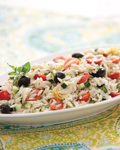 Orzo Salad from Southern Lady Magazine - with orzo pasta, feta cheese,  cucumbers, tomatoes, artichoke hearts,,and black olives