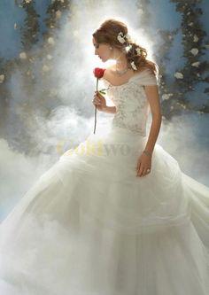 Disney Fairy Tale Weddings Style Shrug Strapless Satin Tulle Wedding Dress