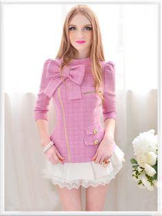 Morpheus Boutique  - Pink Knit Bow Princess Zipper Shoulder Long Sleeve Top , (http://www.morpheusboutique.com/pink-knit-bow-princess-zipper-shoulder-long-sleeve-top/)