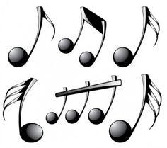 Shiny black musical notes