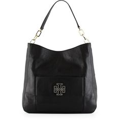 Tory Burch Britten Pebbled Leather Hobo Bag ($525) ❤ liked on Polyvore