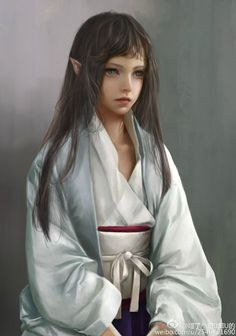 elf art girl kimono original long hair fantasy green eyes