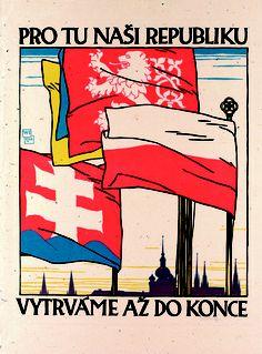 Vojtěch Preissig - Pro tu naši republiku vytrváme až do konce (1918) - linoryt,