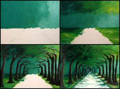 """Evolution of """"Avenue of Trees"""" Painted @ Painting with a Twist Miami from Taylor Newman's Elementary Art board Painting Lessons, Painting & Drawing, Painting Trees, Road Painting, Art Plastique, Teaching Art, Tree Art, Painting Techniques, Art Tutorials"""