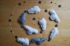 Tuturial guirnalda de fieltro con nubes y estrellas. DIY felt cloud garland