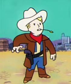 Rootin toot in vault boi Fallout Art, Fallout New Vegas, Ranchero Alegre, Ncr Ranger, Karma, Vault Tec, The Last Unicorn, Little Memes, Fandom