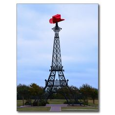 Cowboy Hat on replica of Eiffel Tower, Paris, Texas Postcard    http://www.zazzle.com/eiffel_tower_paris_texas_post_card-239378460710151501?rf=238577061362460707