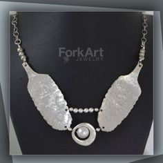 Textured spoon necklace with Swarovski pearl by ForkArtJewelry, $110.00