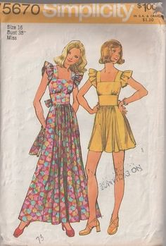 MOMSPatterns Vintage Sewing Patterns - Simplicity 5670 Vintage 70's Sewing Pattern DARLING Pinafore Look Wide Cinched Waist Ruffle Sleeves Maxi Boho Gown, Mini Babydoll Dress
